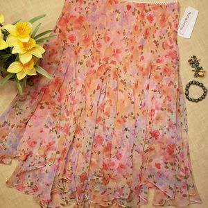 NWT Easter Spring Flowing Floral Skirt Large